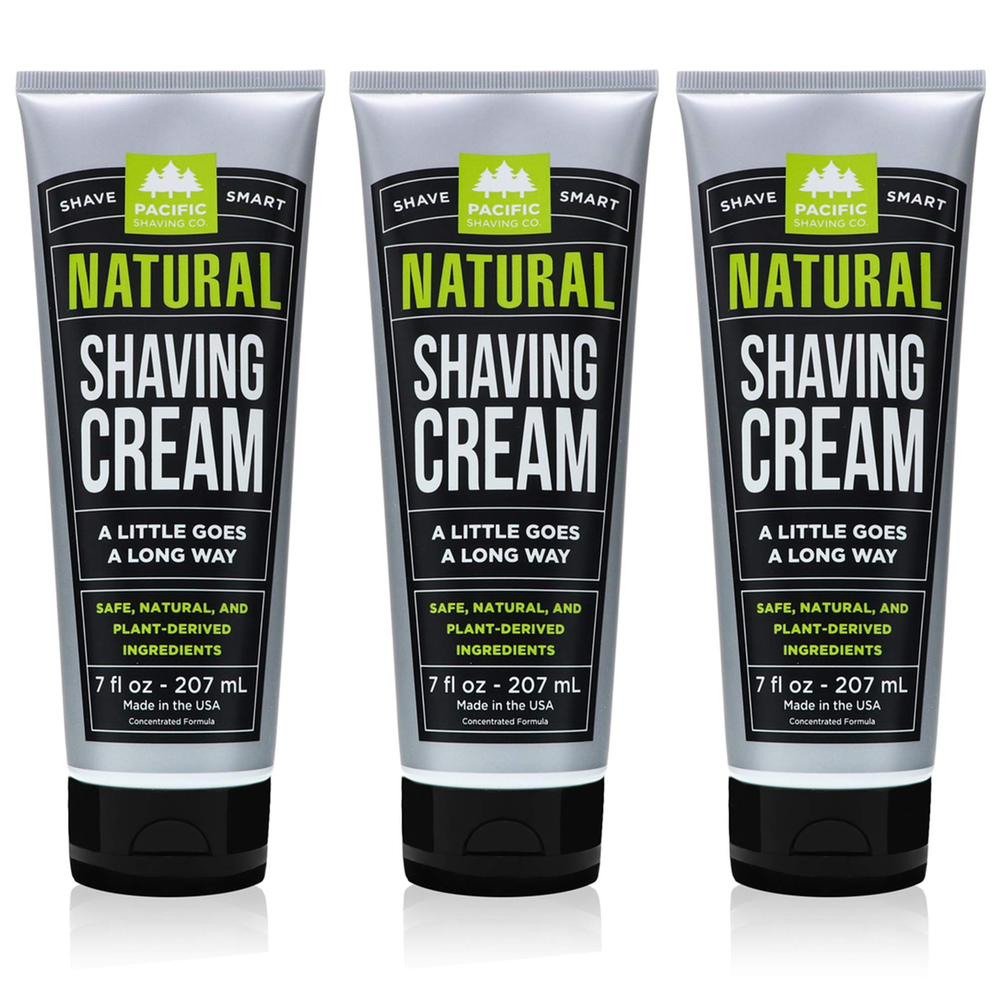 Pacific Shaving Company Natural Shave Cream - with Safe, Natural, and Plant-Derived Ingredients for a Smooth Shave, Healthy, Hydrated, Softer Skin, Less Irritation, Cruelty-Free, 7 oz (Pack of 3) by Pacific Shaving Company