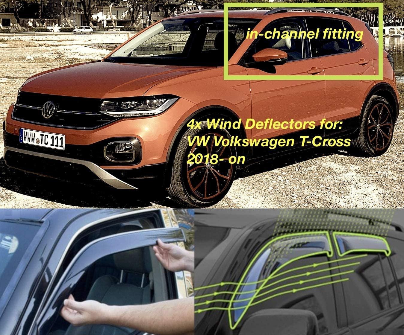 Set Mit 4 Windabweisern Für Vw Volkswagen T Cross 2018 2019 2020 2021 2022 Seitentür Fenster Regenschutz Sonnenblende Acrylglas Pmma Auto