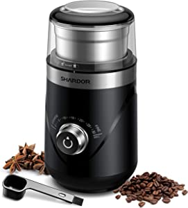SHARDOR Electric Adjustable Coffee Grinder, Spice Grinder with Removable Stainless Steel Cup, Black