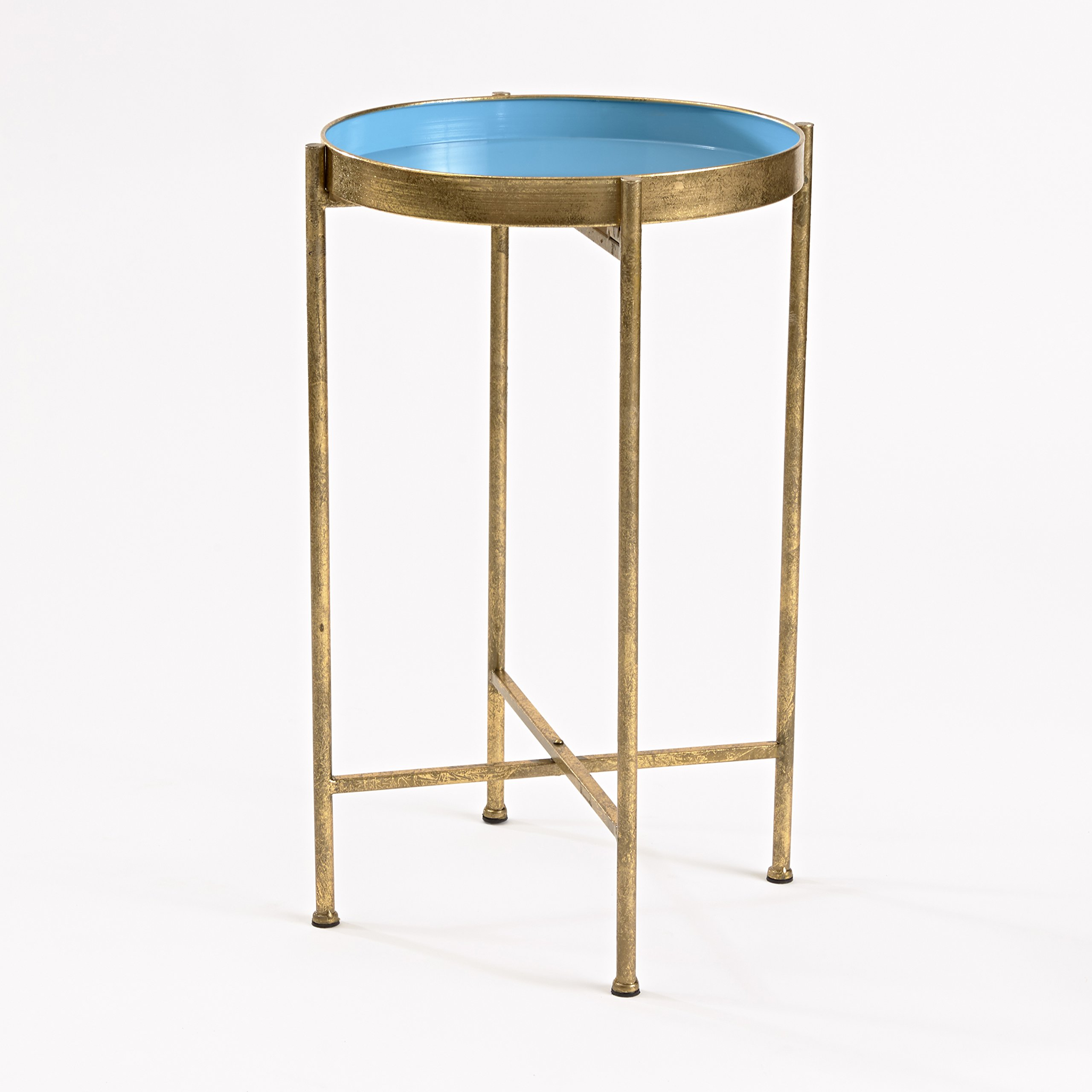 InnerSpace Luxury Products Gild Pop Up Tray Table, Small, Blue