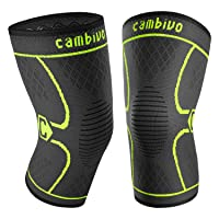 CAMBIVO 2 Pack Knee Brace, Knee Compression Sleeve Support for Men and Women, Running...