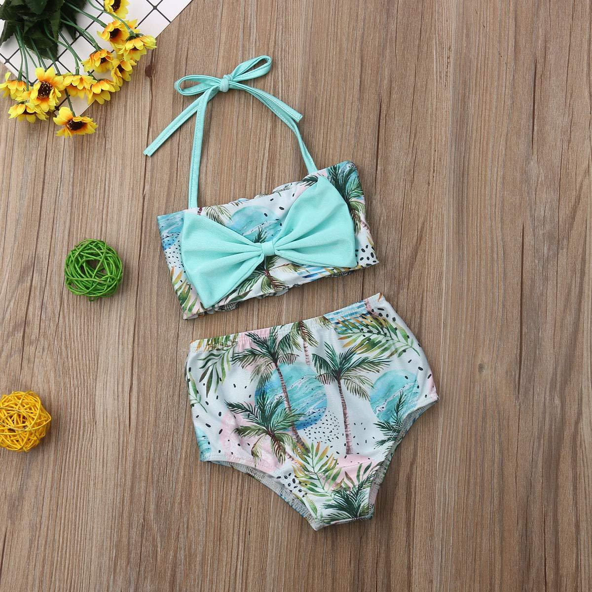 Baby Girls Plaid Swimwear Sunsuits Two Pieces Blue Bikini Bathing Sets Swimsuit