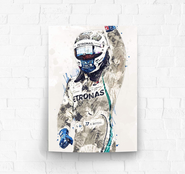Amazon Com Topshelfprints Valtteri Bottas Mercedes Poster Canvas Print F1 Racing Artwork Kids Wall Decor Man Cave Sports Decor Clothing