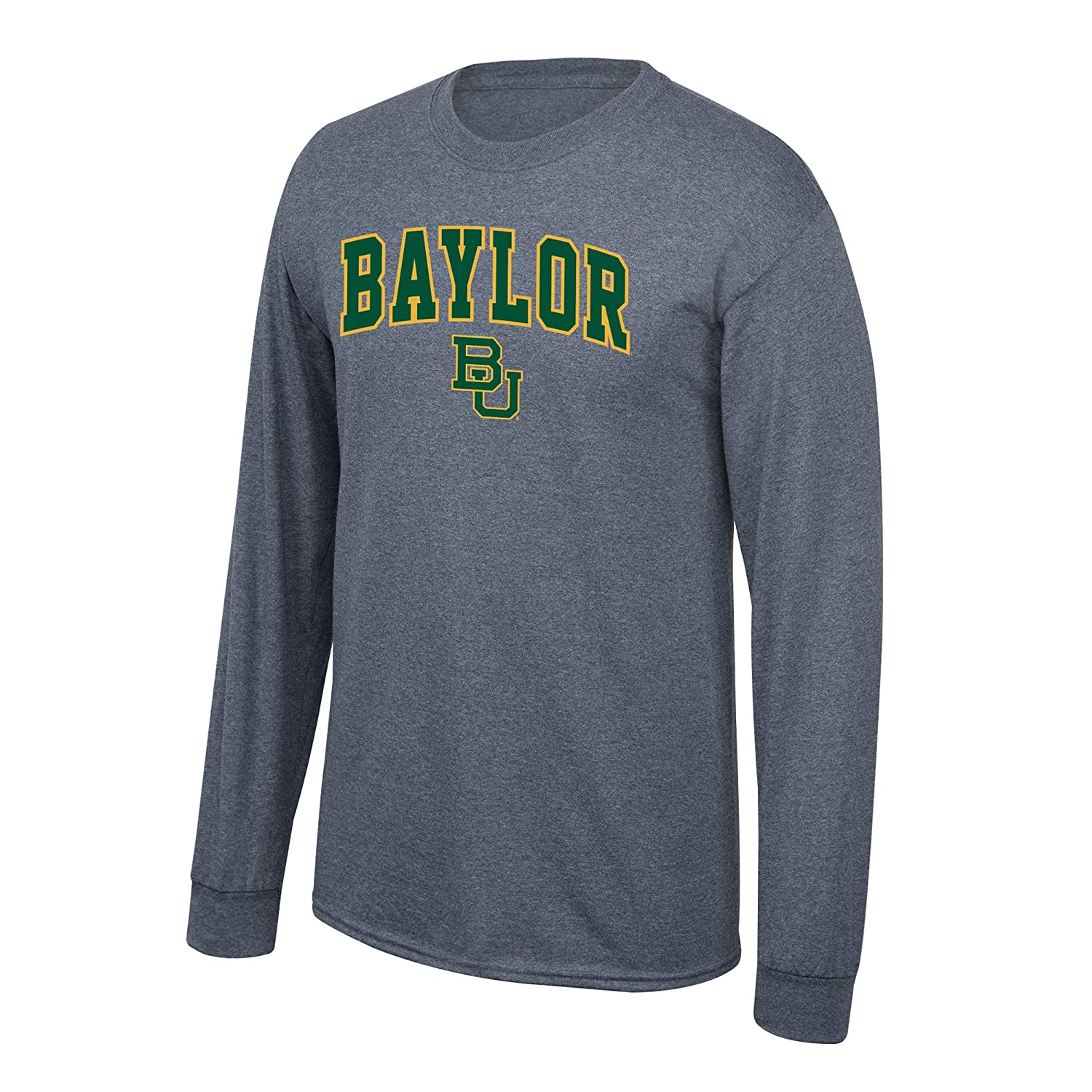 Elite Fan Shop NCAA Mens Baylor Bears Long Sleeve Shirt Dark Heather Arch Baylor Bears Dark Heather Medium