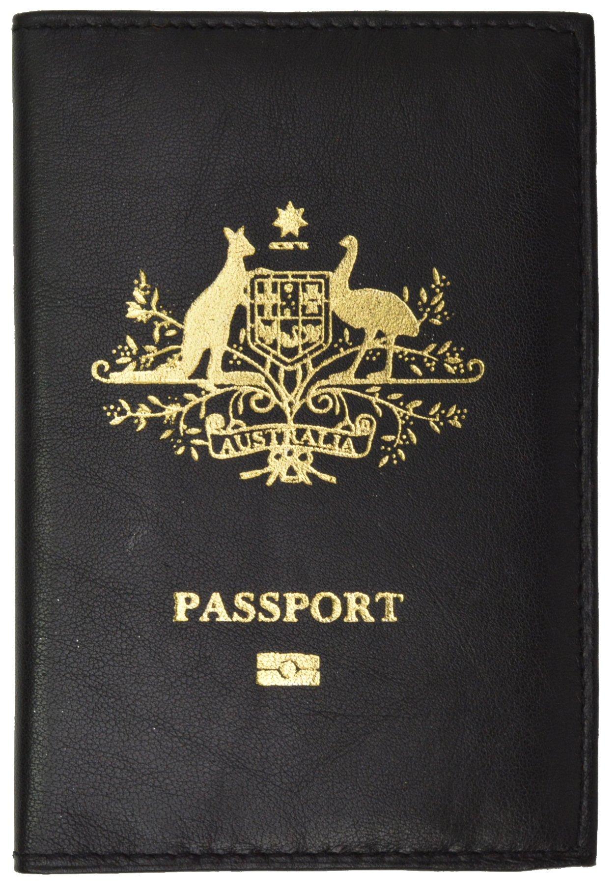 Australia Passport Cover Genuine Leather Passport Wallet for Travel (Black)