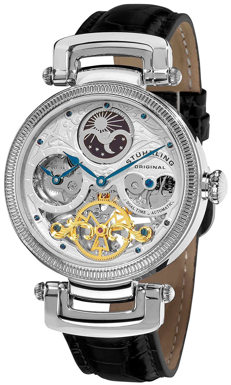amazon com stuhrling original men s 353a 33152 magistrate analog amazon com stuhrling original men s 353a 33152 magistrate analog automatic self wind black leather watch watches