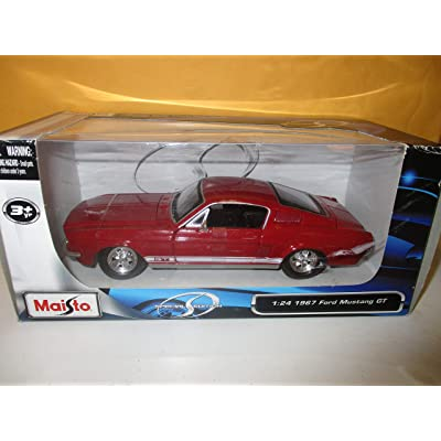 Maisto 1:24 Scale 1967 Ford Mustang GT Diecast Vehicle Red: Toys & Games