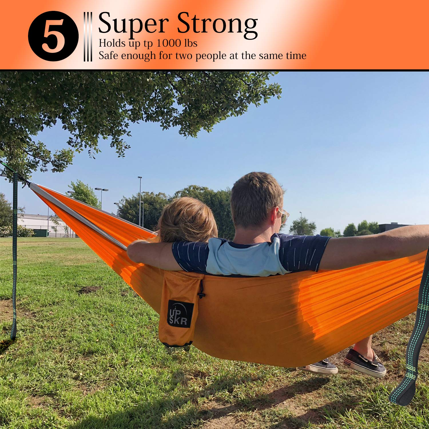 Hiking Backpacking,Beach,Yard /& Travel Lounger-Heavy Duty Gear Holds 1000lb UPSKR Double Camping Hammock-Lightweight 70D Ripstop Portable Parachute Hammock Outdoor Camp
