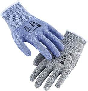 ORIENTOOLS 2 Pack of Cut Resistant Gloves with Level 5 Protection, Safety Work Gloves with Durable Nylon & Fiberglass, Suitable for Cutting, Woodworking, Gardening(Blue&Grey, Size 7, Small)