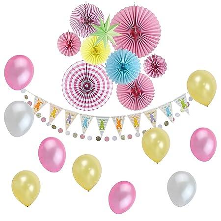 decoration en papel rosa amarillo Rosette balón Deco cámara de ...