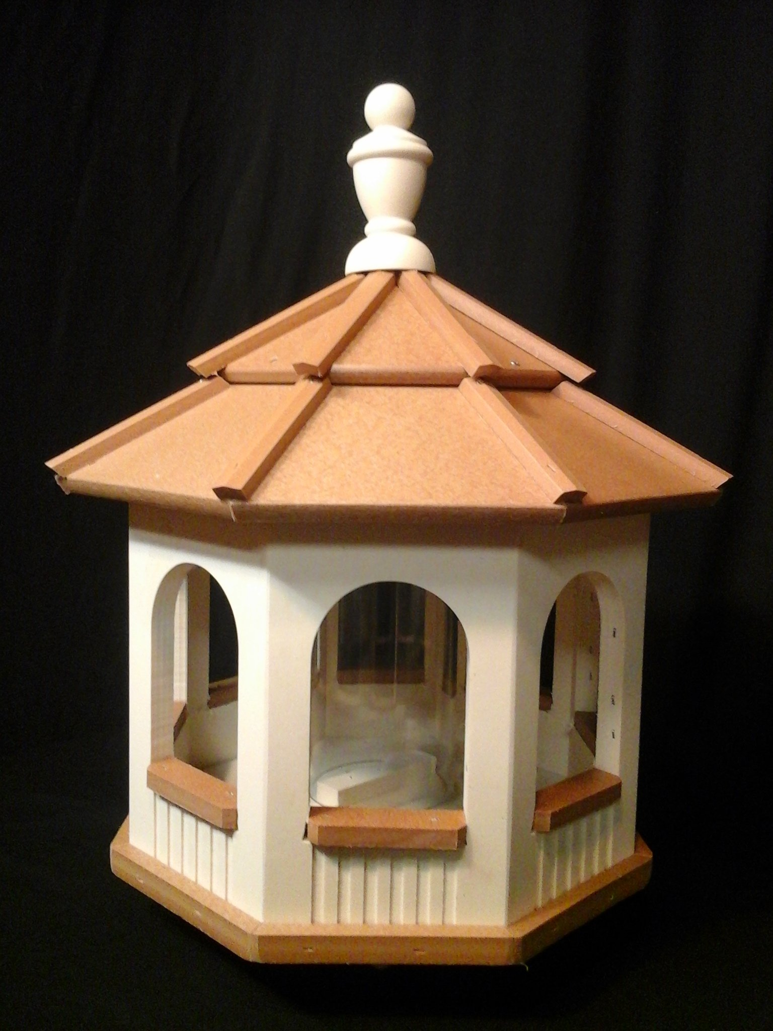 Vinyl Gazebo Bird Feeder Amish Homemade Handmade Handcrafted Ivory & Cedar med by Amish Crafted