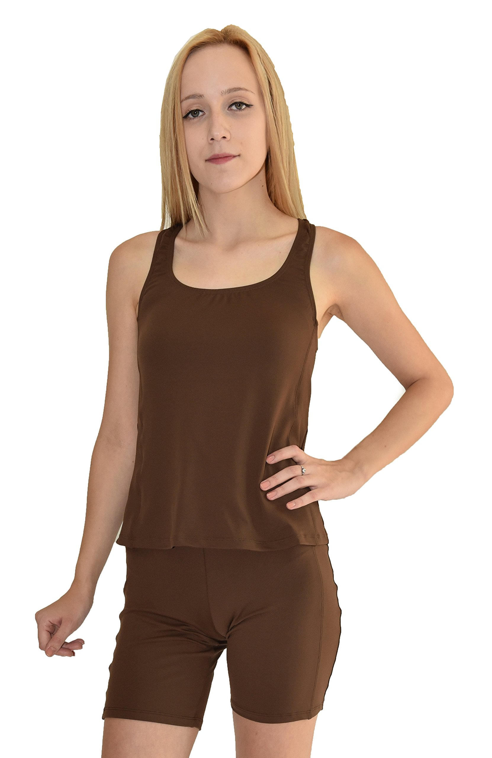Private Island Hawaii UV Women Rash Guard Swim Yoga Active Workout Tankini Top (XL, Brown-YTY) by Private Island