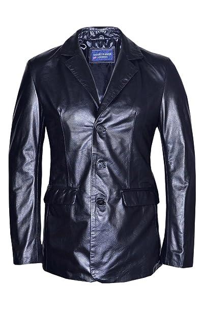Classic Slim Jim para Hombre Blazer Negro Suave napa Real de Tela con una Chaqueta de Cuero de Pared para Abrigos: Amazon.es: Ropa y accesorios