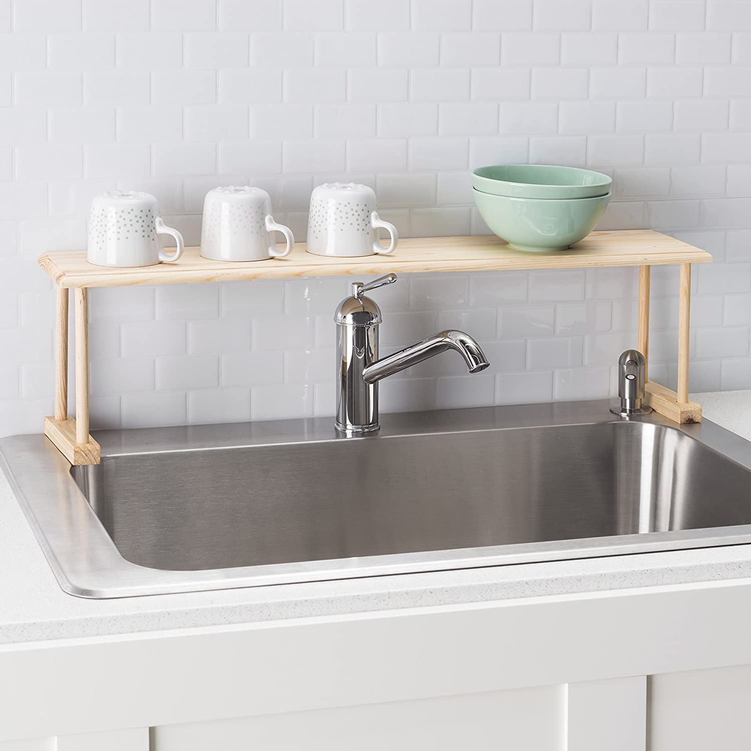 Amazon.com: Home Basics Wood Over the Sink Shelf, Natural: Home ...