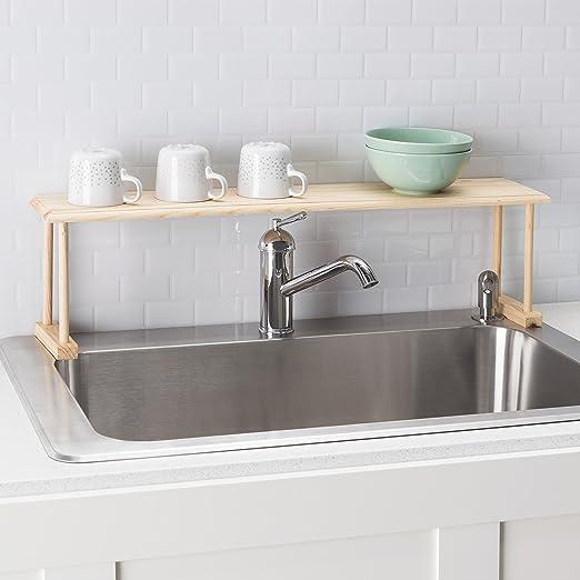 Amazon.com: Home Basics Wood Over the Sink Shelf, Natural: Home ...