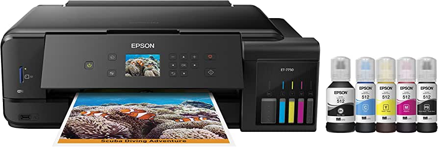 Epson Expression Premium ET-7750 EcoTank Wireless Wide-format 5-Colour All-in-One Supertank Printer with Scanner, Copier and Ethernet