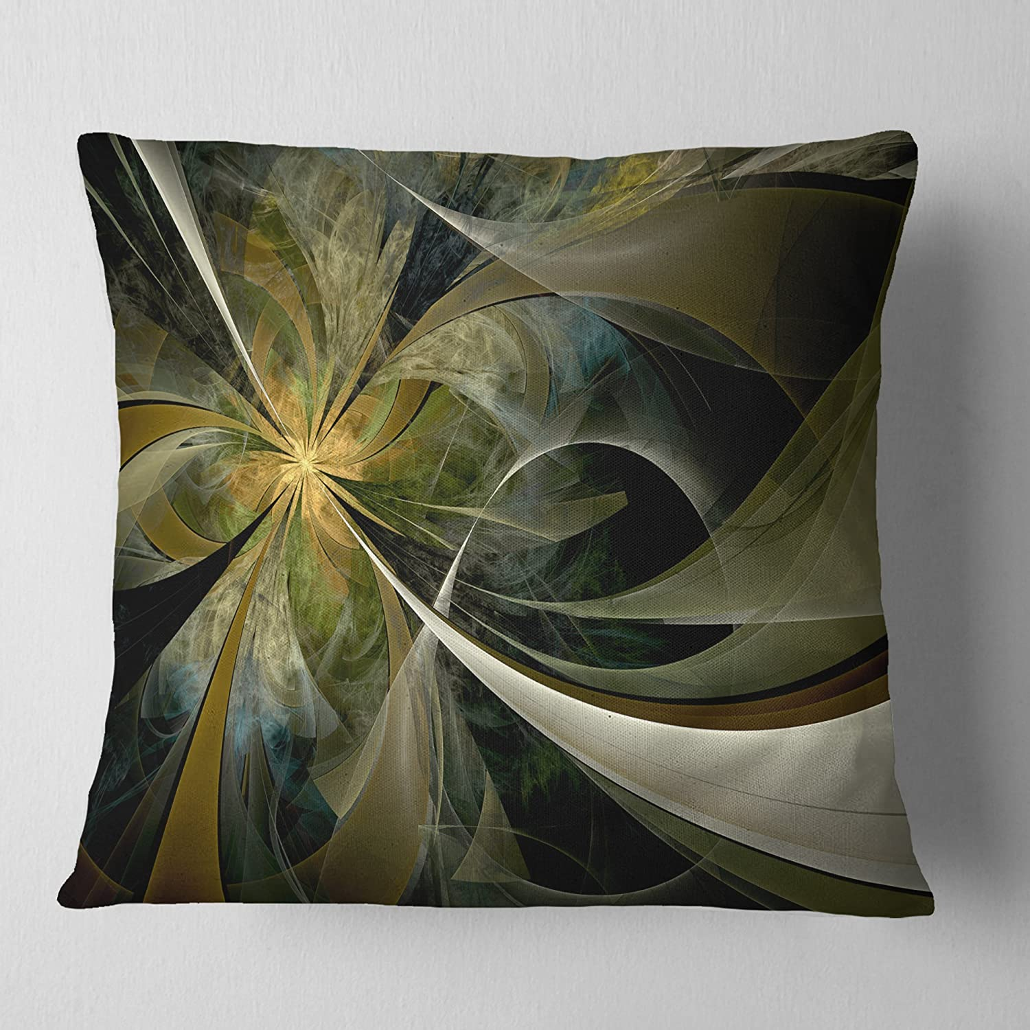 X 18 In Designart Cu11925 18 18 Gold And Silver Large Fractal Flower Floral Cushion Cover For Living Room Insert Printed On Both Side In Sofa Throw Pillow 18 In Throw Pillow Covers Home