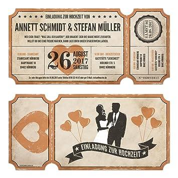 Lasergeschnittene Hochzeitseinladungen 30 Stuck Vintage Ticket