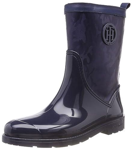 e82d7dbfd61140 Tommy Hilfiger Damen Shiny CAMO RAIN Boot Gummistiefel Blau (Tommy Navy  406) 36 EU