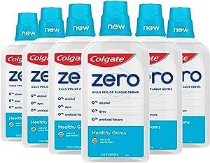 Colgate Zero for Healthy Gums Alcohol Free Mouthwash, Reduces Gingivitis Gum Disease, Natural Spearmint - 515 mL, 17.4 fluid ounce (6 Pack)