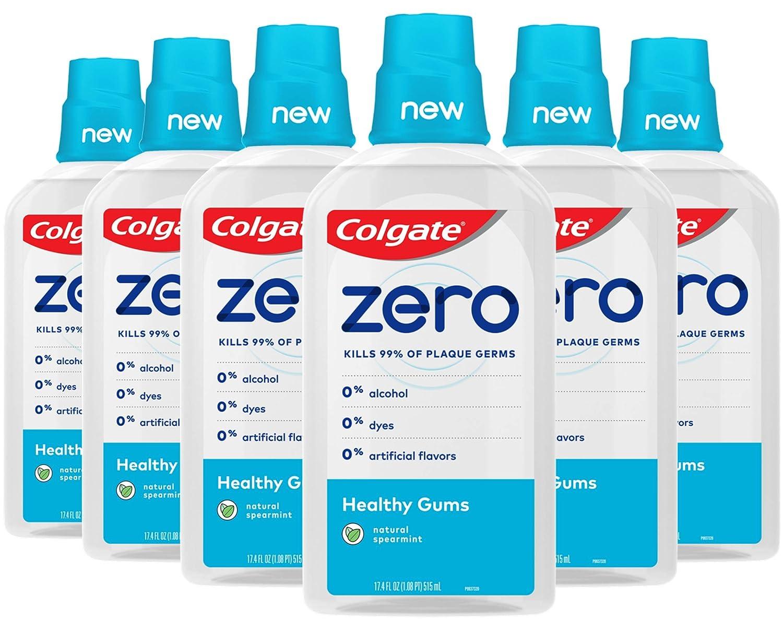 Colgate Zero for Healthy Gums Alcohol Free Mouthwash, Natural Spearmint - 515 mL, 17.4 Fluid Ounce (6 Pack)