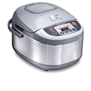 Hamilton Beach 37570 Advanced Multi-Function, Fuzzy Logic Rice Cooker 3.5 Quart Stainless Steel