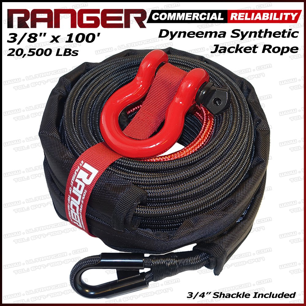 Ranger 3/8'' x 100' Jacket Dyneema Synthetic Winch Rope 20,500LBs with Removable Rock Guard by Ultranger