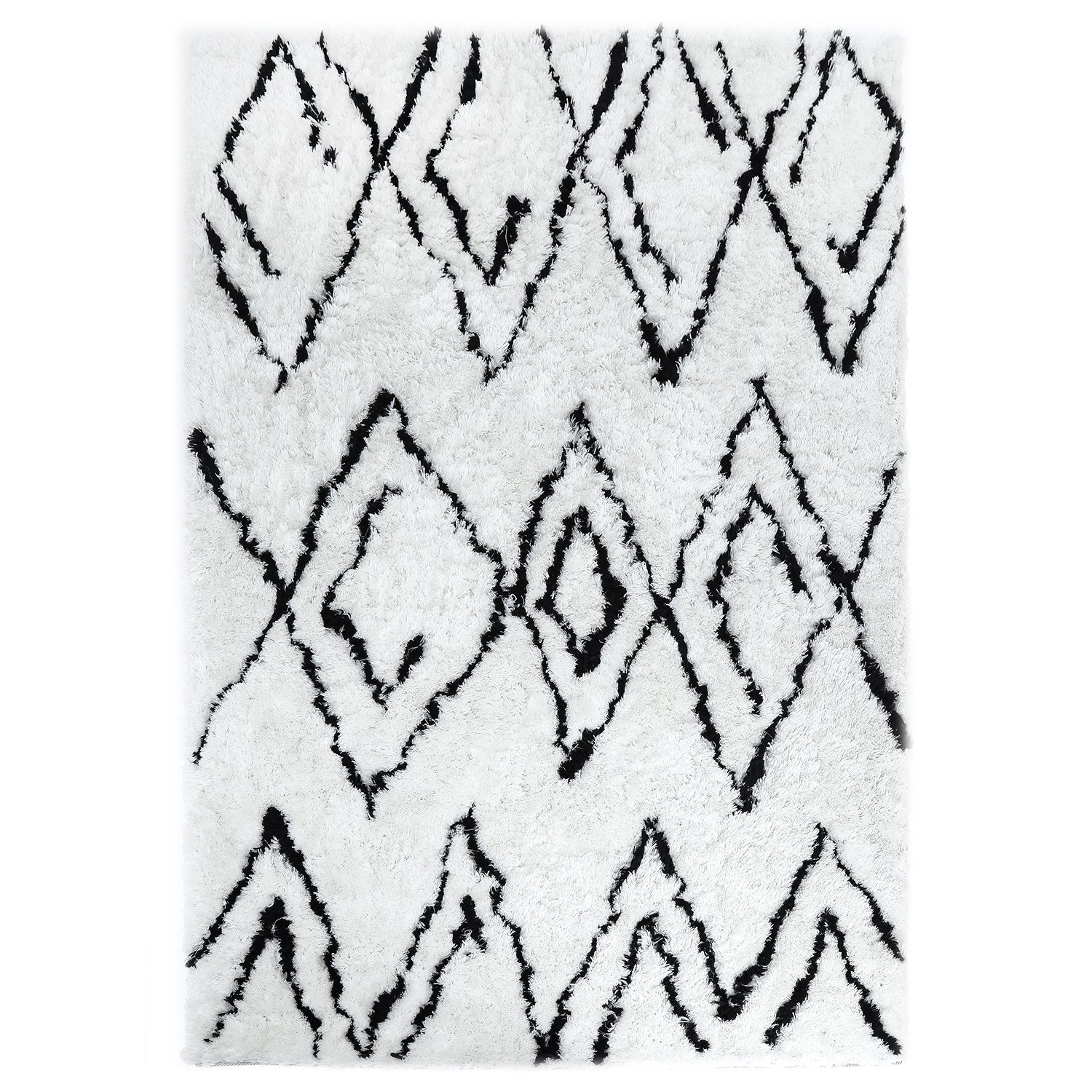 LOCHAS Moroccan Collection Pattern Shag Area Rug for Living Room Bedroom Modern Plush Carpet, 6.6' x 10', White and Black