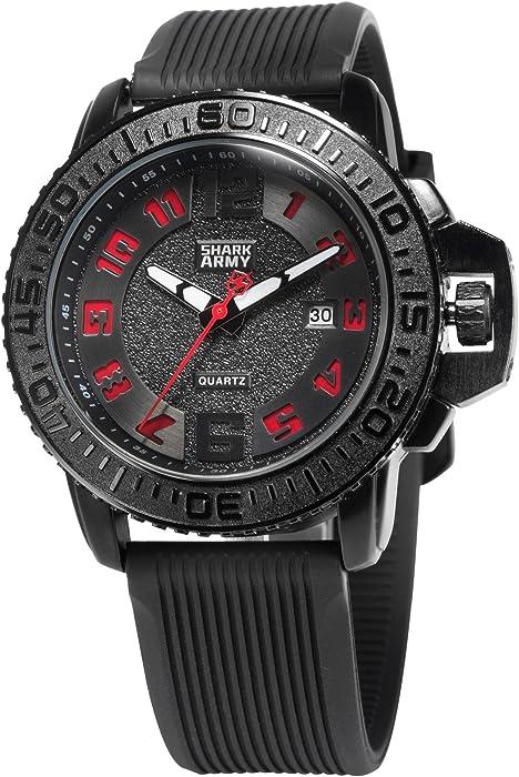 SHARK ARMY Reloj Hombre de Cuarzo, Correa de Silicona SAW179