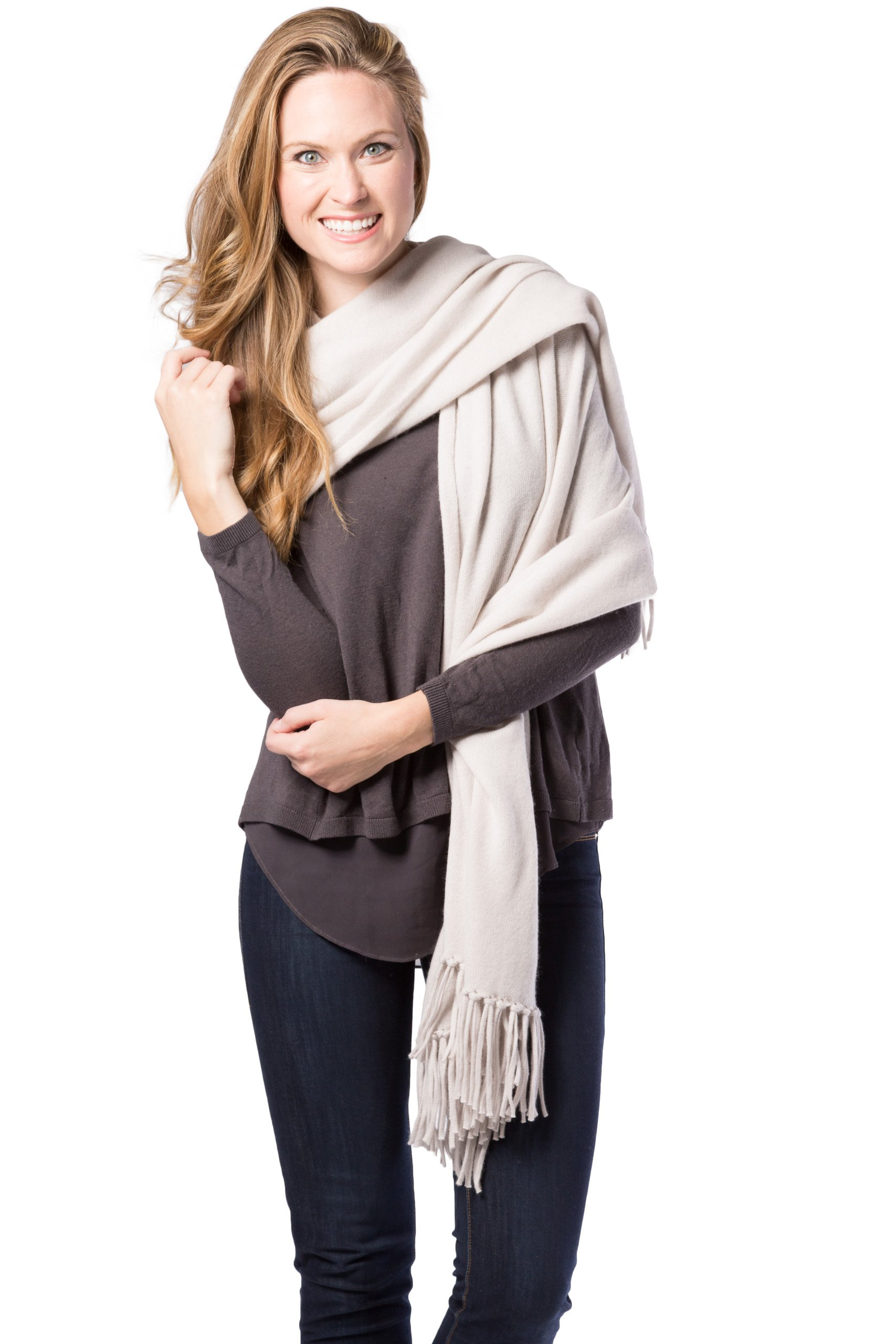 Fishers Finery Women's 100% Cashmere Knit Shawl with Fringe; 78'' X 28'' (Stone)