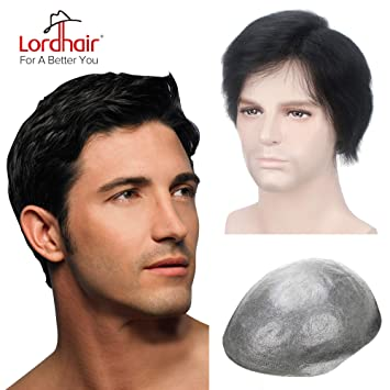 Lordhair Thin Skin Toupee for Men Men s Hair Pieces Replacement System Jet  Black Color  1 ca320968b
