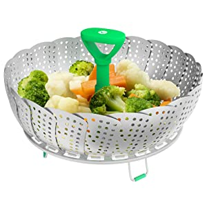 Vremi Collapsible Vegetable Steamer Basket- Food Safe Round Stainless Steel Steaming Tray - Fits Large and Small Pans, Pots, Instant Pressure Cookers - Extendable Handle and Silicone Feet - Green