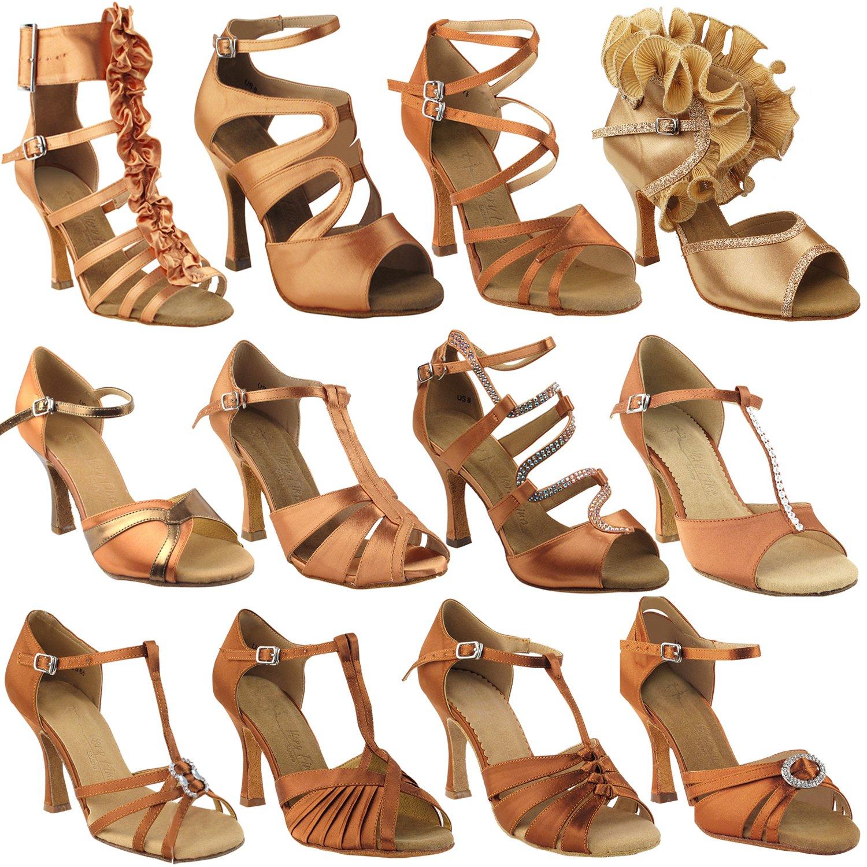 Gold Pigeon Shoes 50 Shades of TAN: SERA7039 Tan Satin 3'' Heel, Size 8 1/2