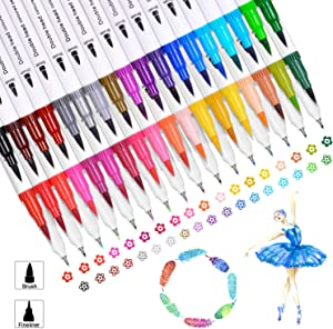 36 Colors of Water Based Marker for Coloring Books Calligraphy Lettering Art Thanksgiving Day Gifts Adults Kids,Dual Tips Coloring Brush Color Pens Art Markers