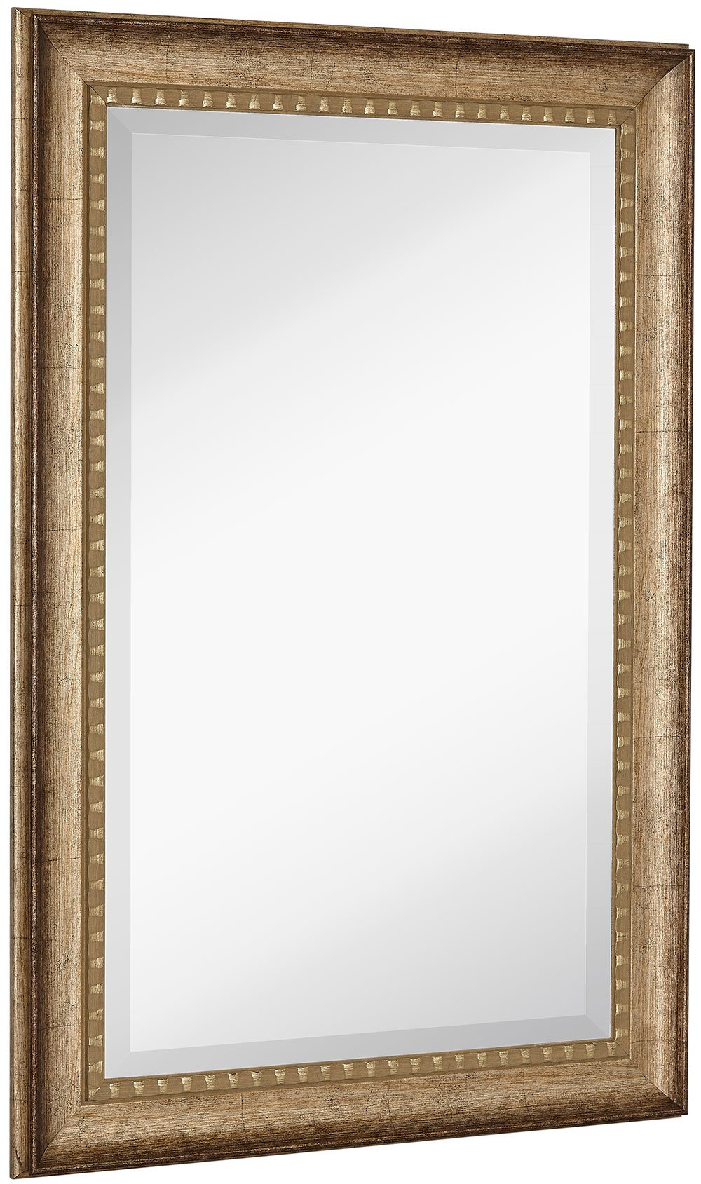 NEW Large Transitional Rectangle Wall Mirror | Luxury Designer Accented Frame | Solid Beveled Glass | Made In USA | Vanity, Bedroom, or Bathroom | Hangs Horizontal or Vertical