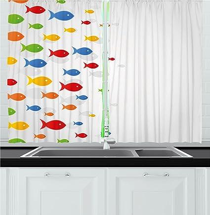Amazon Com Ambesonne Ocean Animal Decor Kitchen Curtains Types Of