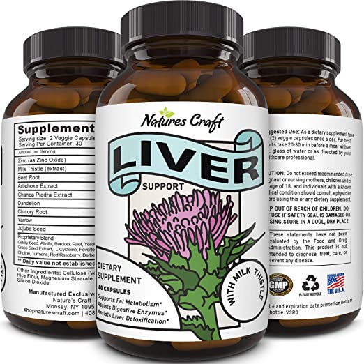 Natures Crafts Best Liver Cleanse Detox Support Supplement with Milk Thistle 60 Veggie Capsules