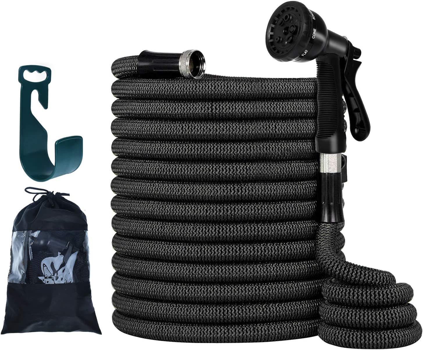 """PanShield Upgraded Heavy Duty 50FT Expandable Garden Hose Set, Double Latex Core, 3/4"""" Solid Brass Fittings, Lightweight Kink Free, Flexible Water Hose, 8 Function Spray Nozzle, Storage Bag, Hanger"""