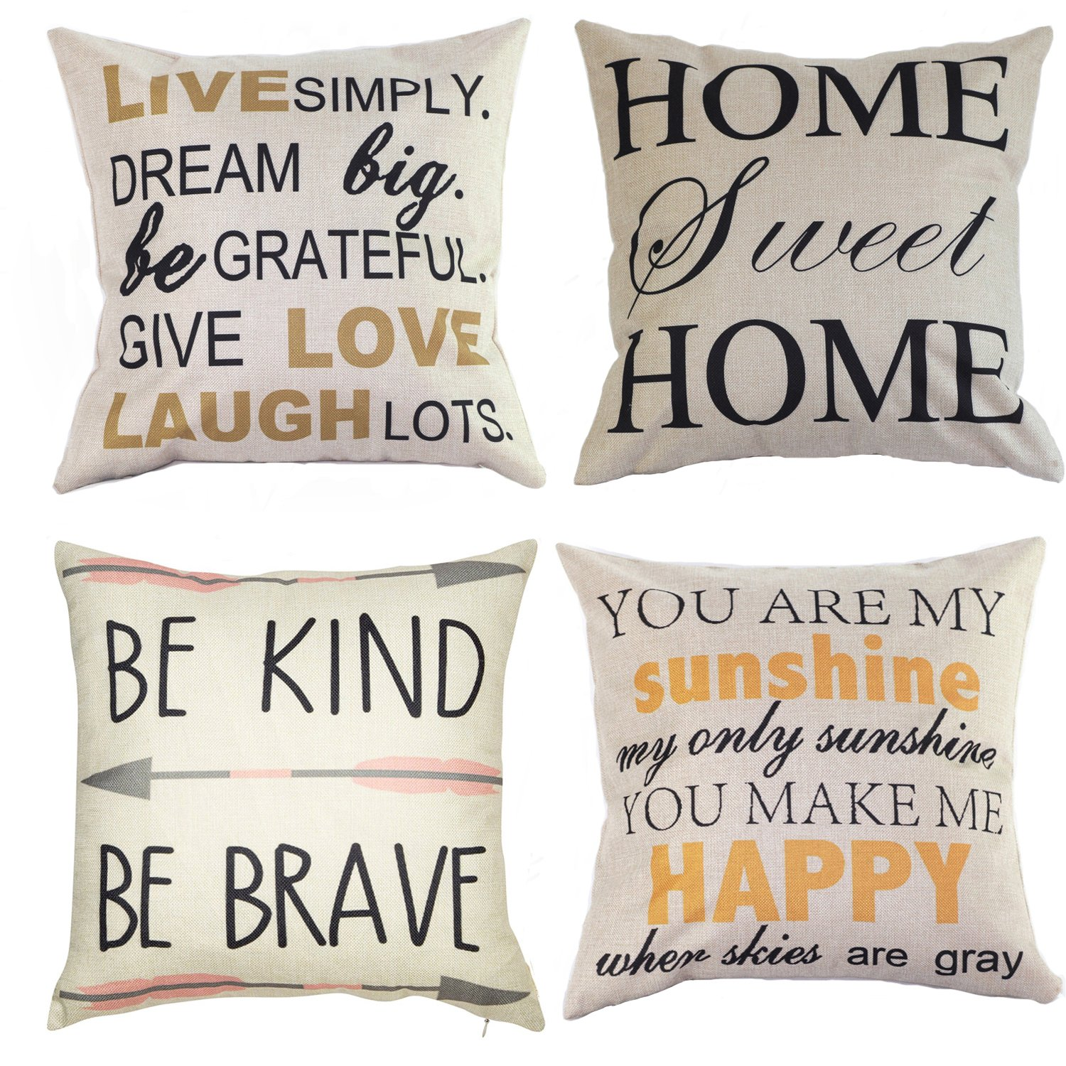 Wonder4 Decorative Quote Words Pillow Case Cotton Linen Square Decorative Throw Pillow Covers Cushion Cover 18'' x 18'' Be Kind Be Brave,Home Sweet Home Love in Simple Words