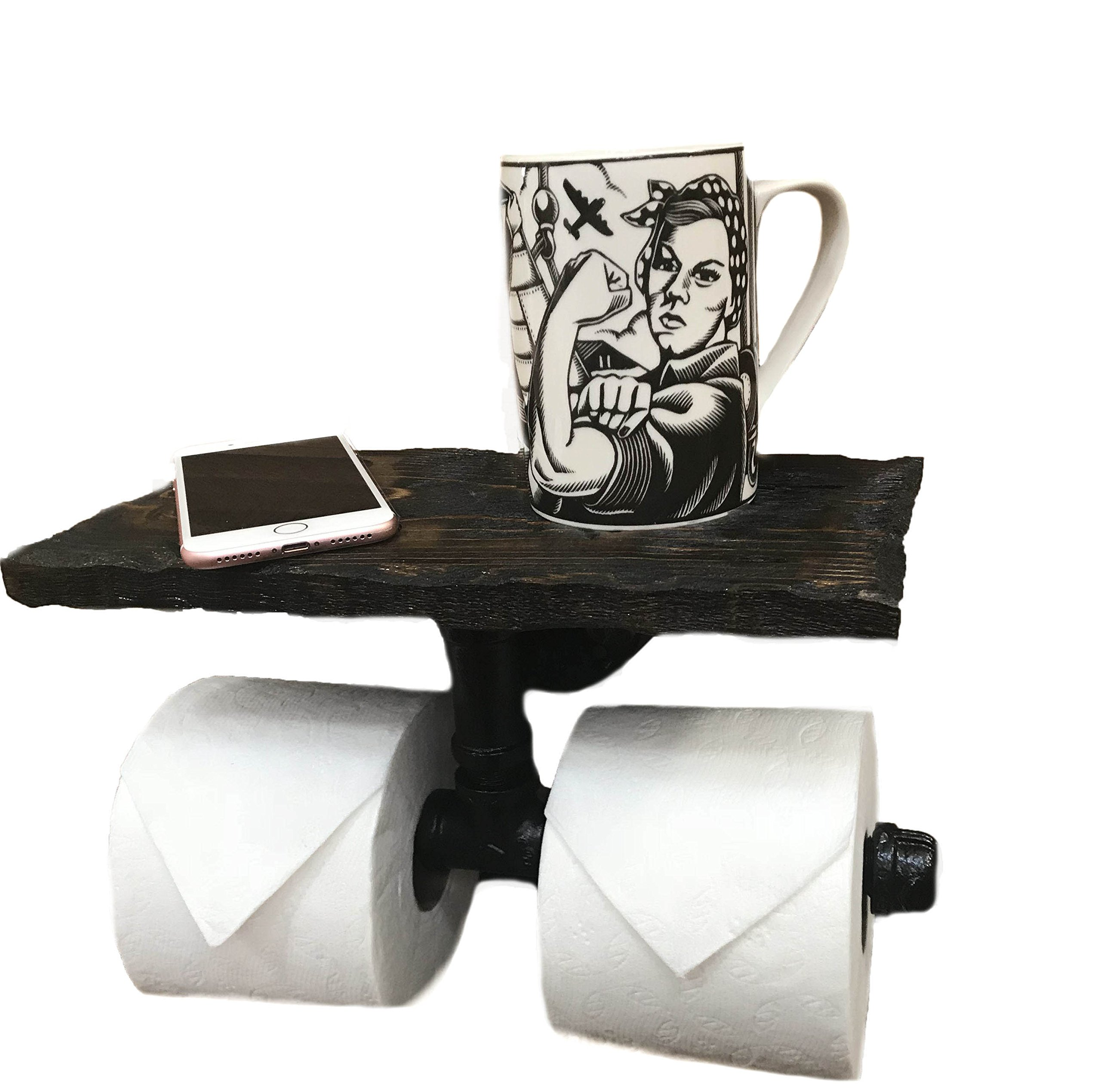Industrial 2 Roll Toilet Paper Holder-PERSONALIZED Floating Distressed Weathered Shelf. NEVER RUN OUT OF TP AGAIN ! (Dark Walnut)