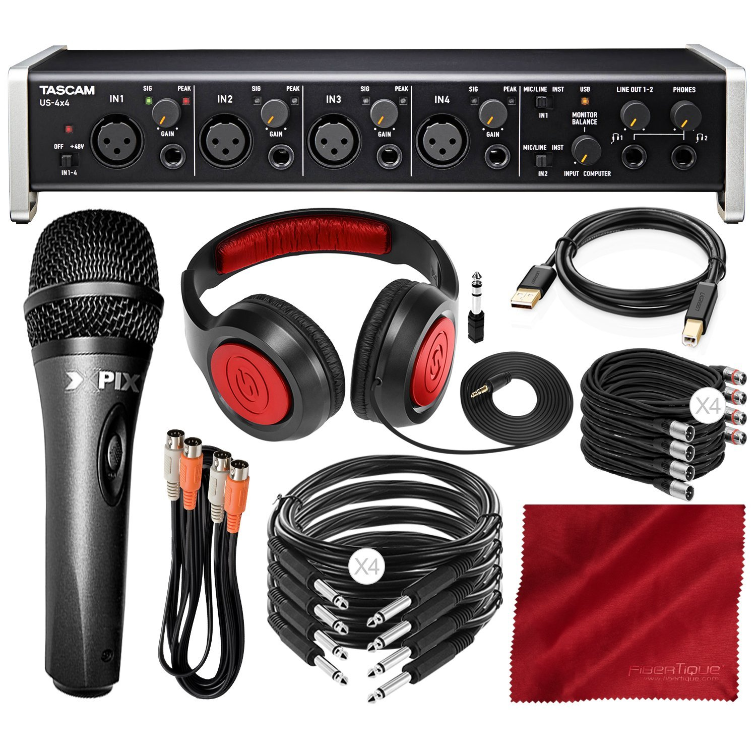 Tascam US-4x4 USB Audio Interface with Xpix Dynamic Condenser Microphone and Deluxe Bundle by Photo Savings