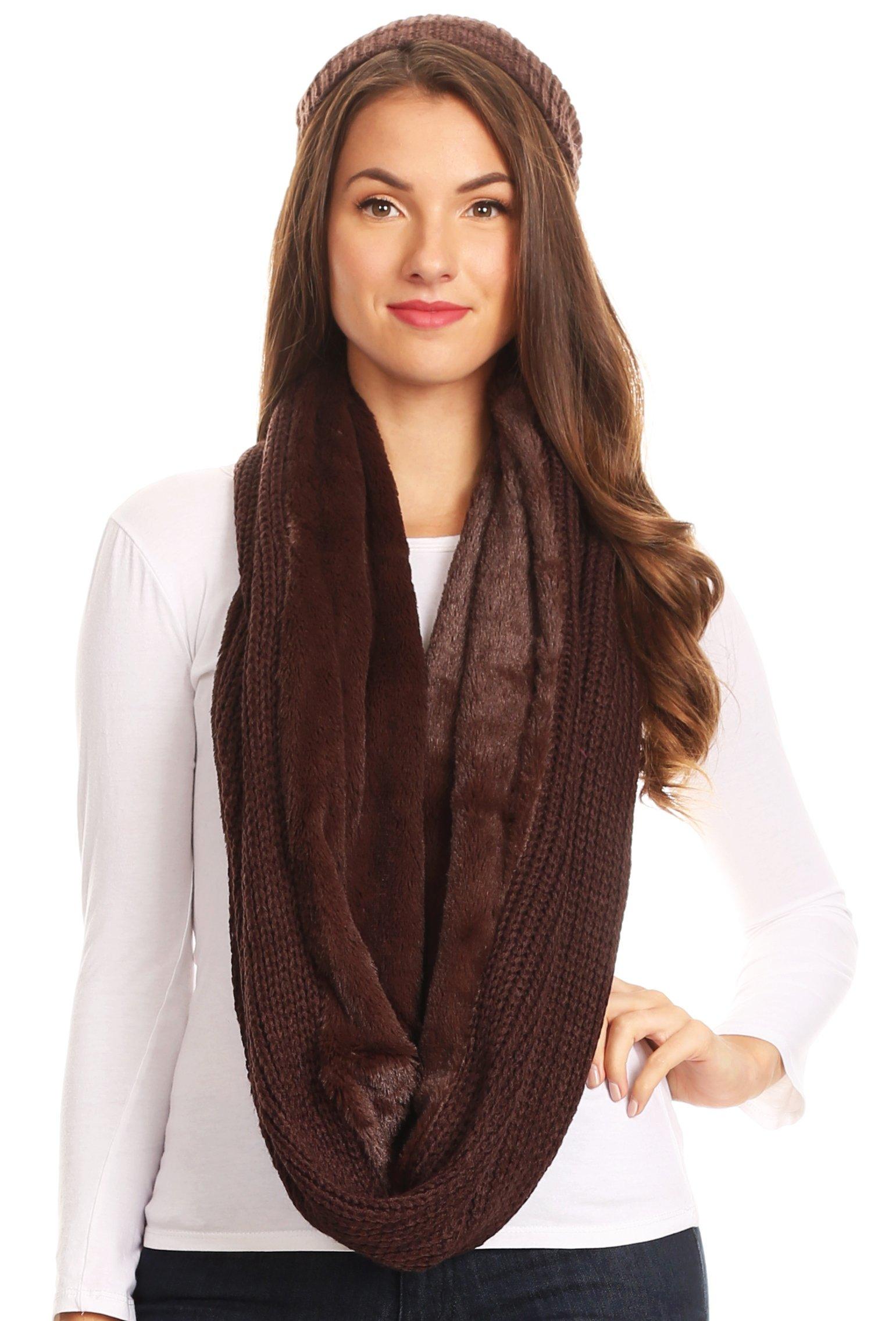 Sakkas 16139 - Balencia Cool Girl Long Wide Soft Fur Lined Infinity Scarf Beanie Hat Set - Chocolate - OS