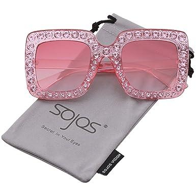 SOJOS Gafas De Sol Mujer Marco Rectangulares Oversized Cristal Chispeante SJ2053