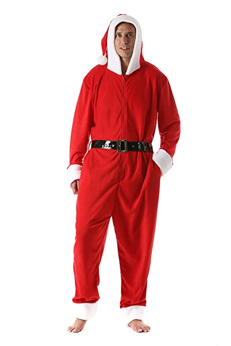 Men s Adult Onesie Mens Pajamas Santa Suit One Piece Pajamas 37f56379d