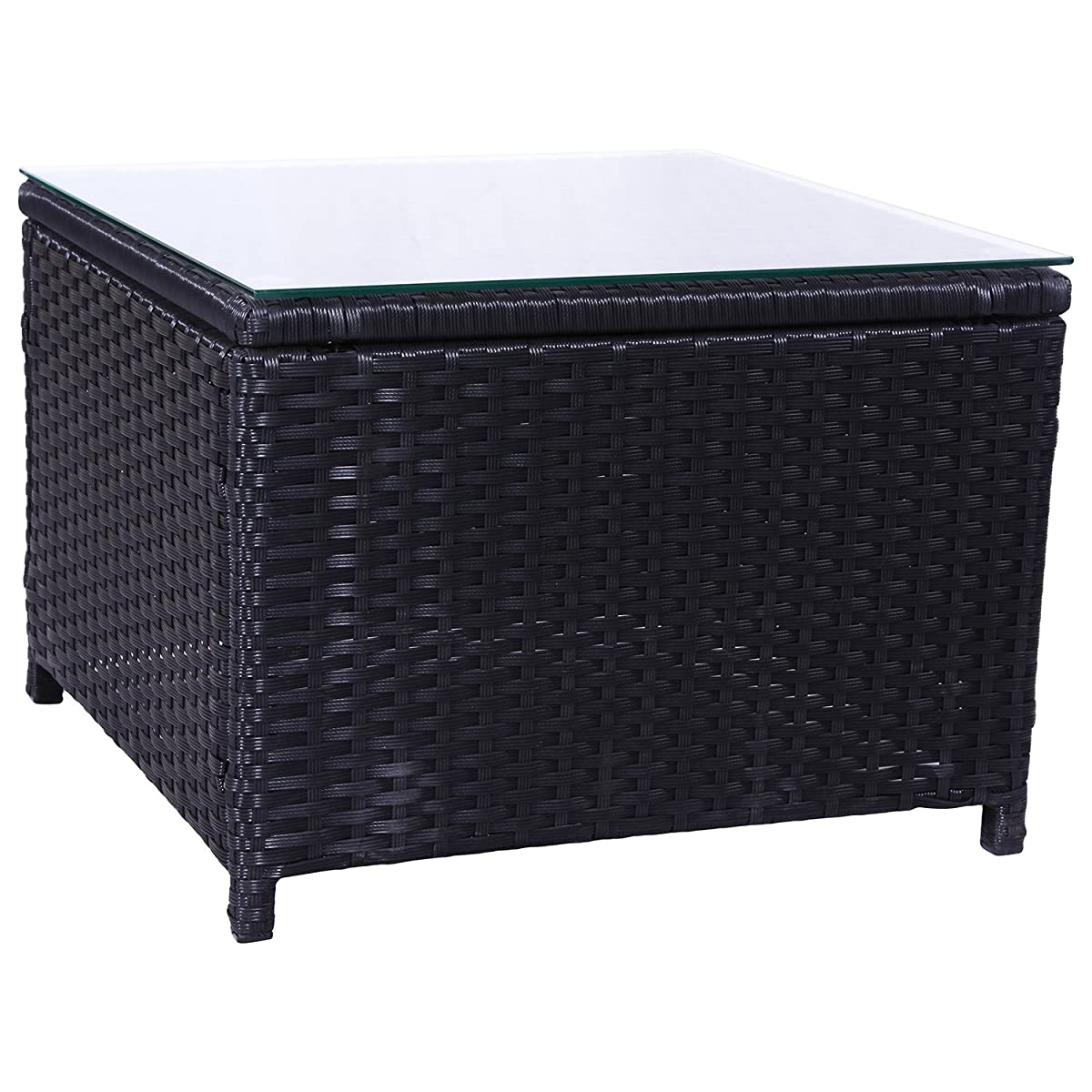 SL New Black Furniture Outdoor Garden PE Rattan Patio Tea/coffee Table(1 pc coffee table)