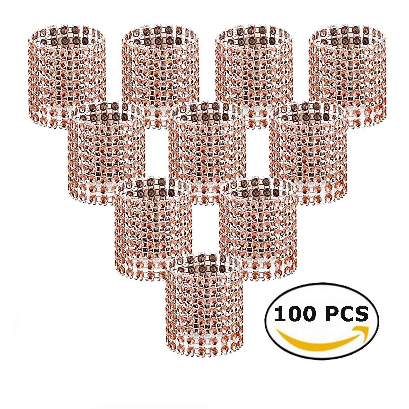 Anneaux de Serviette Strass Strass Diamant Gold-100 Pcs