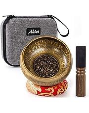 Aklot Singing Bowl, Handmade Nepal 5 inch Tibetan Singing Bowls Set with Case Cushion Mallet for Healing Meditation Yoga