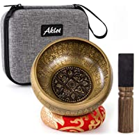 Aklot Himalaya Tibetan Singing Bowl Nepal Special Brass 12.5 cm for Meditation Yoga Relax with Cushion Mallet & Protect…