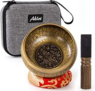 Aklot Himalaya Tibetan Singing Bowl Nepal Special Brass 12.5 cm for Meditation Yoga Relax with Cushion Mallet & Protect Case