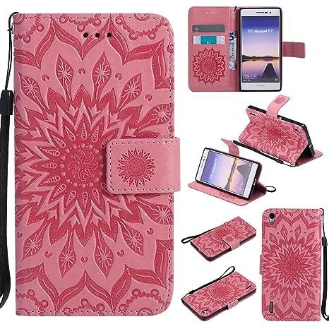pinlu® Flip Funda de Cuero para Huawei Ascend P7 Carcasa con Función de Stent y Ranuras con Patrón de Girasol Cover (Rosa)